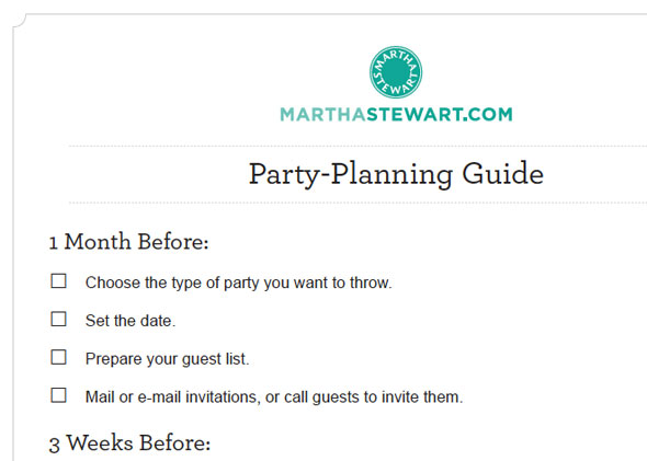 MarthaStewart party planning guide