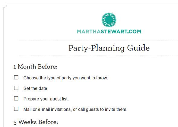 MarthaStewart party planning guide