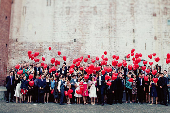 Red Heart Ballons Wedding by Jonathan Ong