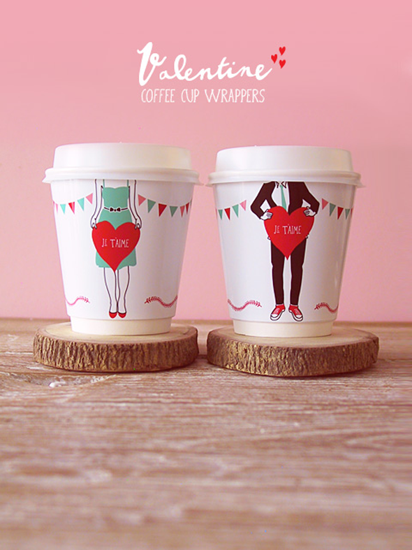 Valentine cup wrappers by EatDrinkChic