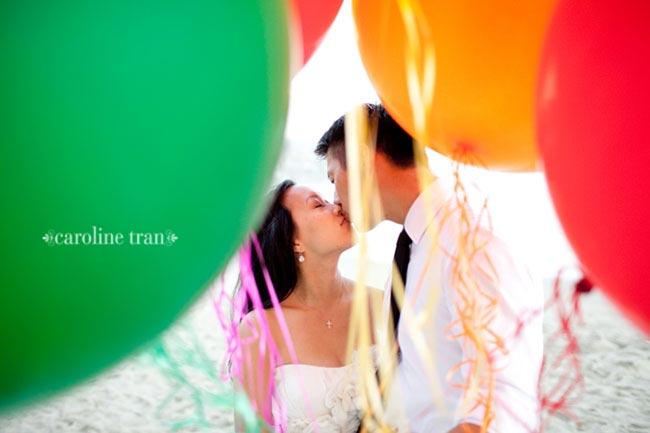 balloon wedding portrait by Caroline Tran
