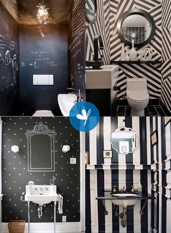 Dall'alto a sinistra, in senso orario, NYTimes, Apartment Therapy, Lonny Magazine, Design*Sponge. Dalla bacheca Lu-la-loos. Sì, ho una passione per i bagni!